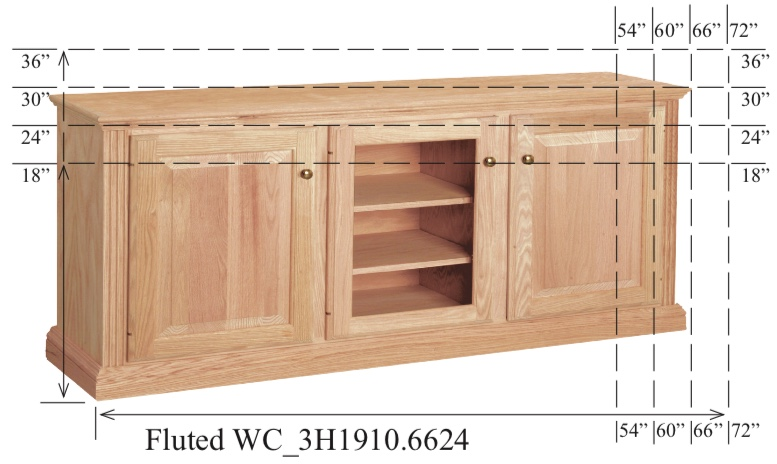 "WC_3H1910: Fluted Semi-Custom Entertainment Stand, 3 Sections,  2 Raised-Panel & 1 Glass Door, 17""D"
