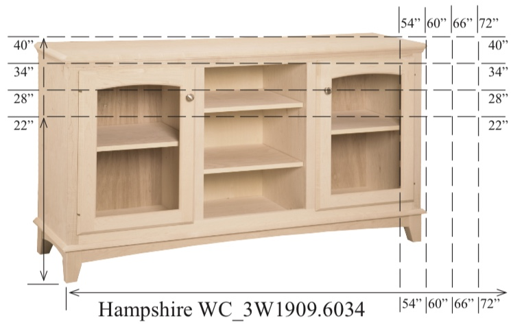 "WC_3W1909: Hampshire Semi-Custom Entertainment Stand, 3 Sections,  2 Glass Doors, 17""D"