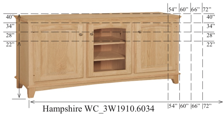"WC_3W1910: Hampshire Semi-Custom Entertainment Stand, 3 Sections,  2 Raised-Panel & 1 Glass Door, 17""D"