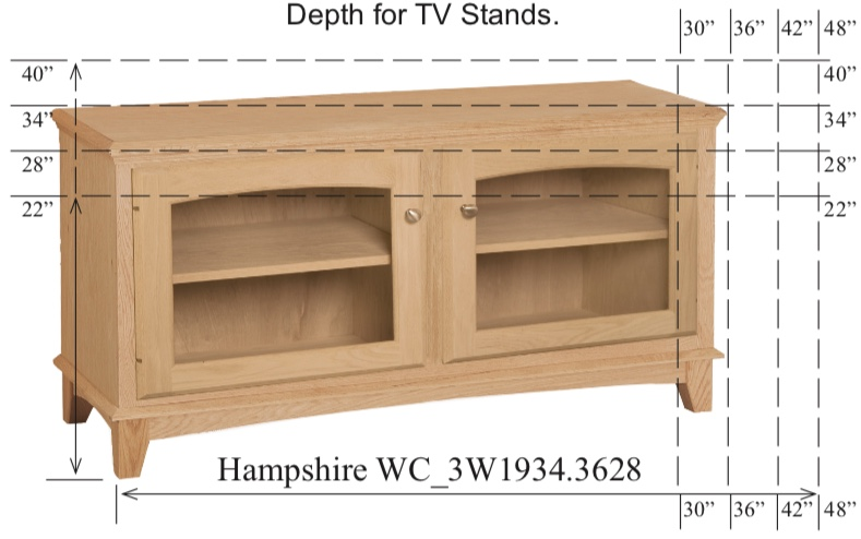 "WC_3W1934: Hampshire Semi-Custom Entertainment Stand, 2 Sections,  2 Glass Doors, 17""D"