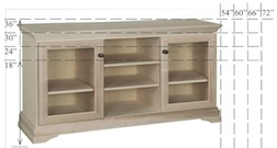 "Georgetown Sem-Custom Entertainment Stand, 3 Sections, 2 Glass Doors, 16""D, middle section is 20""W"