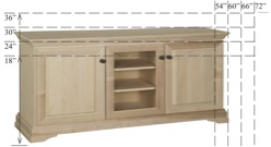 "Georgetown Semi-Custom Entertainment Stand, 3 Sections, 2 Raised-Panel Doors with 1 Glass Door in Center, 16""D, middle section is 20""W"