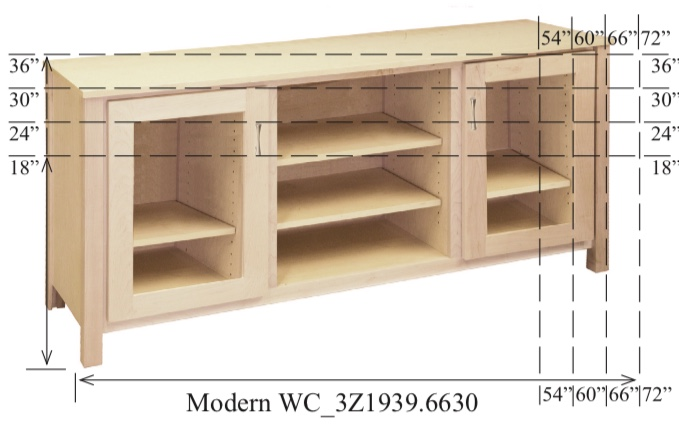 "WC_3Z1939: Modern Semi-Custom Entertainment Stand, 3 Sections, 2 Glass Doors, 17""D"