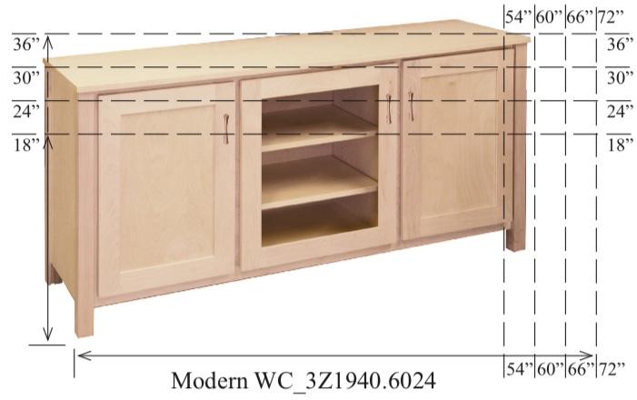 "WC_3Z1940: Modern Semi-Custom Entertainment Stand, 3 Sections, 2 Flat-Panel & 1 Glass Door, 17""D"